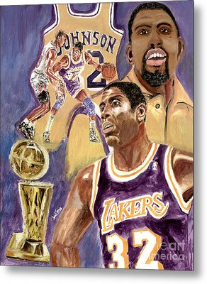 Magic Johnson Metal Print by Israel Torres