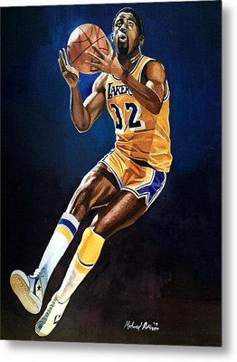 Magic Johnson - Lakers Metal Print by Michael  Pattison