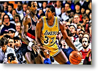 Magic Johnson Vs Clyde Drexler Metal Print by Florian Rodarte