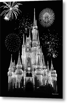 Magic Kingdom Castle In Black And White With Fireworks Walt Disney World Metal Print