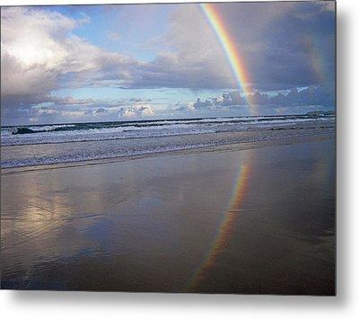 Magic Rainbow Arc Beachscape Metal Print by Ankya Klay
