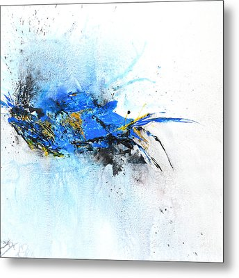 Magical Blue 1- Abstract Art Metal Print by Ismeta Gruenwald