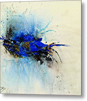 Metal Print featuring the painting Magical Blue-abstract Art by Ismeta Gruenwald