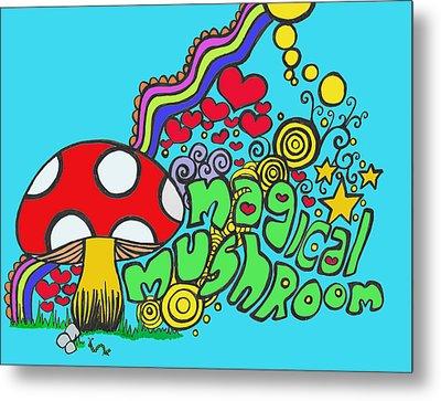Magical Mushroom Pop Art Metal Print by Moya Moon