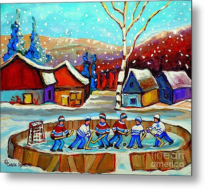 Magical Pond Hockey Memories Hockey Art Snow Falling Winter Fun Country Hockey Scenes  Spandau Art Metal Print