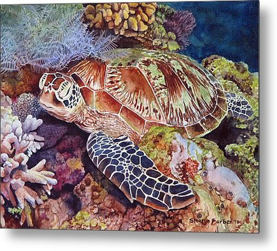 Magical Sea Turtle Metal Print by Sharon Farber