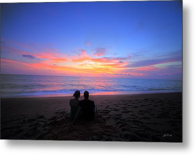 Magnificent Sunset With Couple Metal Print