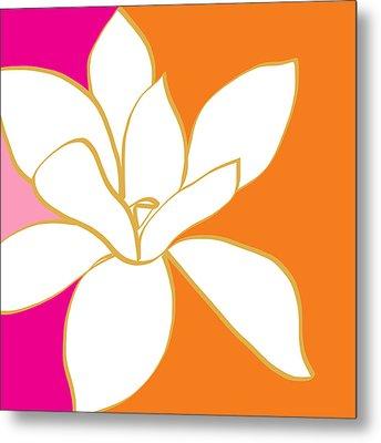 Magnolia 3- Colorful Flower Art Metal Print by Linda Woods