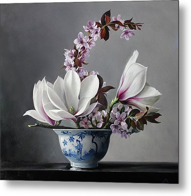 Magnolia And Apple Blossem Metal Print by Pieter Wagemans