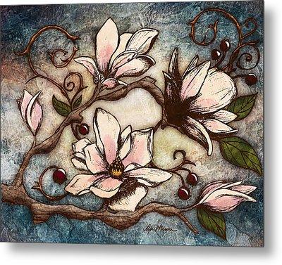 Magnolia Branch I Metal Print by April Moen