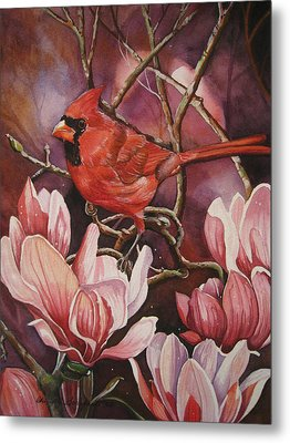 Magnolia Cardinal Metal Print by Cheryl Borchert