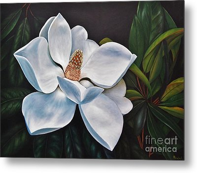 Metal Print featuring the painting Magnolia by Paula L