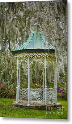Magnolia Plantation Gazebo Metal Print by Carrie Cranwill