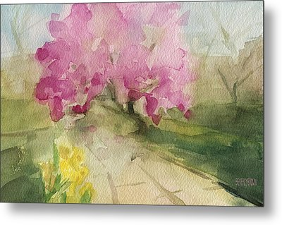 Magnolia Tree Central Park Watercolor Landscape Painting Metal Print by Beverly Brown