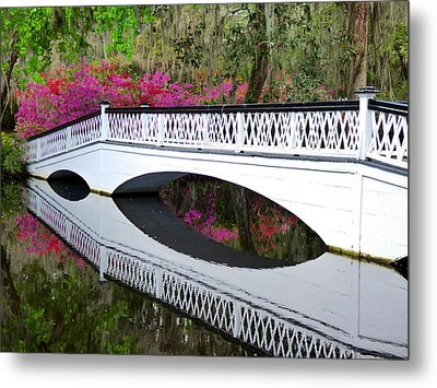 Magnolia White Bridge Metal Print