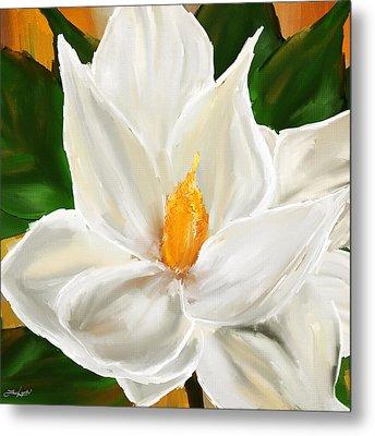 Magnolia's Elegance- Magnolia Paintings Metal Print by Lourry Legarde