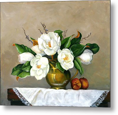 Metal Print featuring the painting Magnolias - Southern Beauties by Sandra Nardone