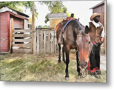Metal Print featuring the painting Mahaffie Stagecoach Stop And Farm by Liane Wright