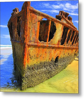Maheno Shipwreck Metal Print by Ramona Johnston