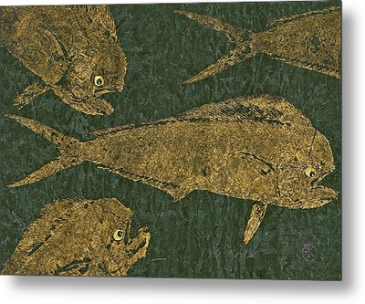 Mahi Mahi On Black W/ Gold Thread Unryu Paper Metal Print