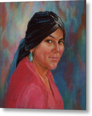 Metal Print featuring the painting Maiden From Jemez Pueblo by Ann Peck