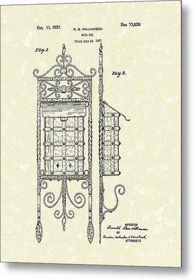 Mail Box 1927 Patent Art Metal Print