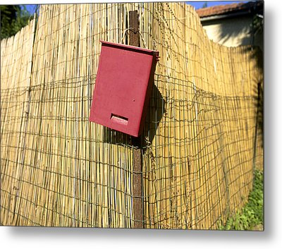 Mail Box On Bamboo Fence Metal Print by Daniel Blatt