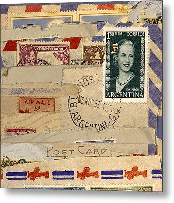 Mail Collage Eva Peron Metal Print