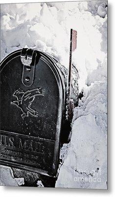 Mailbox Buried In Snow Metal Print by Birgit Tyrrell