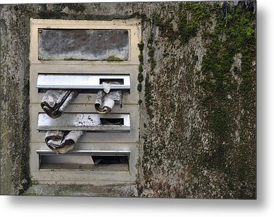 Mailbox With Old Newspapers Metal Print by Matthias Hauser