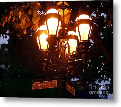 Main Street Gaslights - Abstract Metal Print by Jacqueline M Lewis