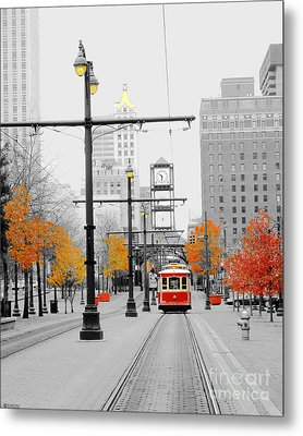Main Street Trolley  Metal Print
