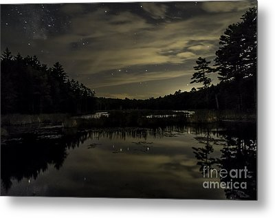 Maine Beaver Pond At Night Metal Print by Patrick Fennell