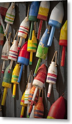 Maine Fishing Buoys Metal Print by Randall Nyhof