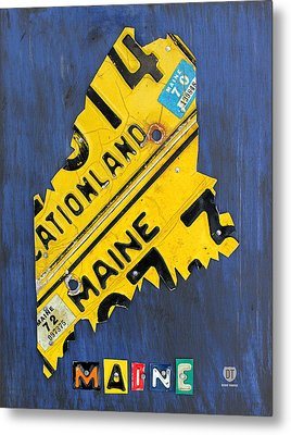 Maine License Plate Map Vintage Vacationland Motto Metal Print