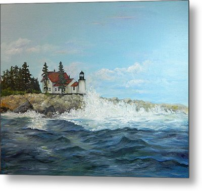 Maine Lighthouse Metal Print by Sandra Nardone