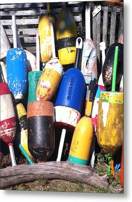 Maine Lobster Buoys Metal Print by Denyse Duhaime