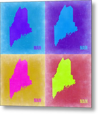 Maine Pop Art Map 2 Metal Print by Naxart Studio