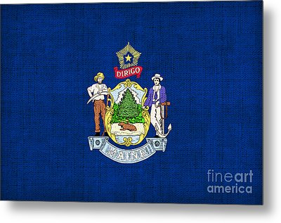 Maine State Flag Metal Print by Pixel Chimp