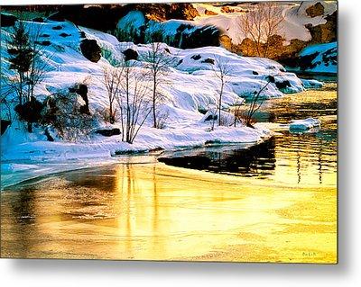 Maine Winter Along The Androscoggin River Metal Print by Bob Orsillo