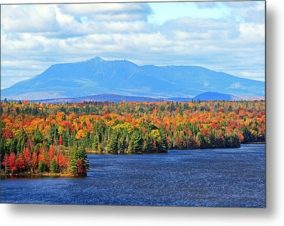 Maine's Mt. Katahdin In Autumn Metal Print by Barbara West
