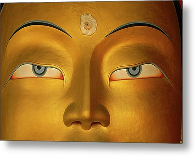 Maitreya Close Up Of Buddha Metal Print by Colin Monteath