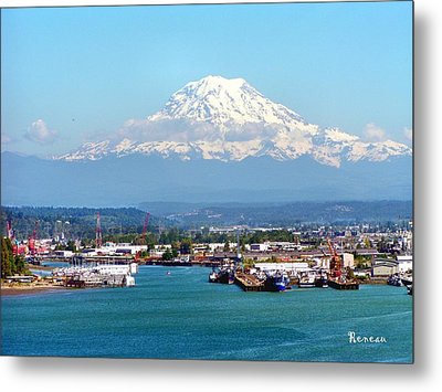 Majestic Mt Rainier And Pt Of Tacoma Wa Metal Print