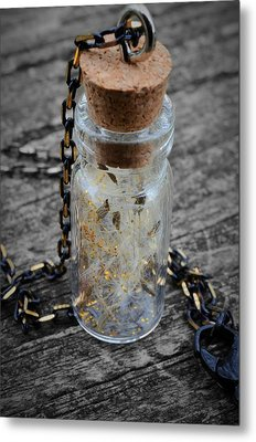 Make A Wish - Dandelion Seed In Glass Bottle With Gold Fairy Dust Necklace Metal Print by Marianna Mills