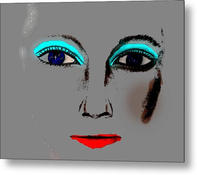 Metal Print featuring the drawing Make Up Digital Painting By Saribelle Rodriguez by Saribelle Rodriguez