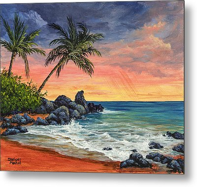 Metal Print featuring the painting Makena Beach Sunset by Darice Machel McGuire