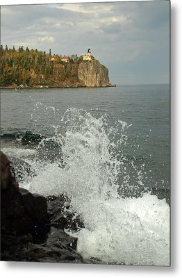 Metal Print featuring the photograph Making A Splash At Split Rock Lighthouse  by James Peterson