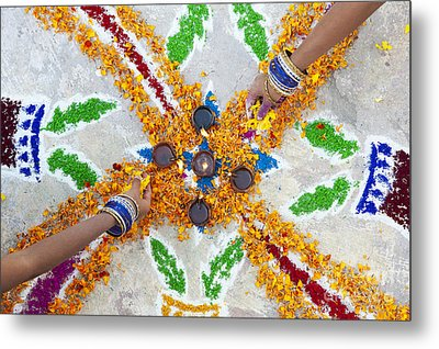 Making Rangoli With Flower Petals And Oil Lamps Metal Print by Tim Gainey