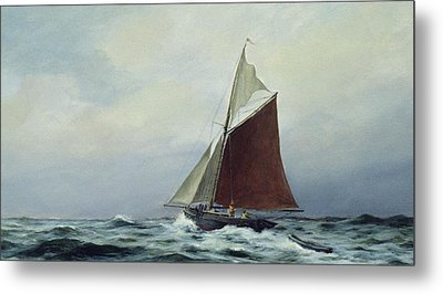 Making Sail After A Blow Metal Print by Vic Trevett