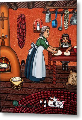 Making Tortillas Metal Print by Victoria De Almeida